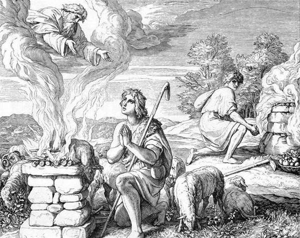 Авель приносит жертву Богу